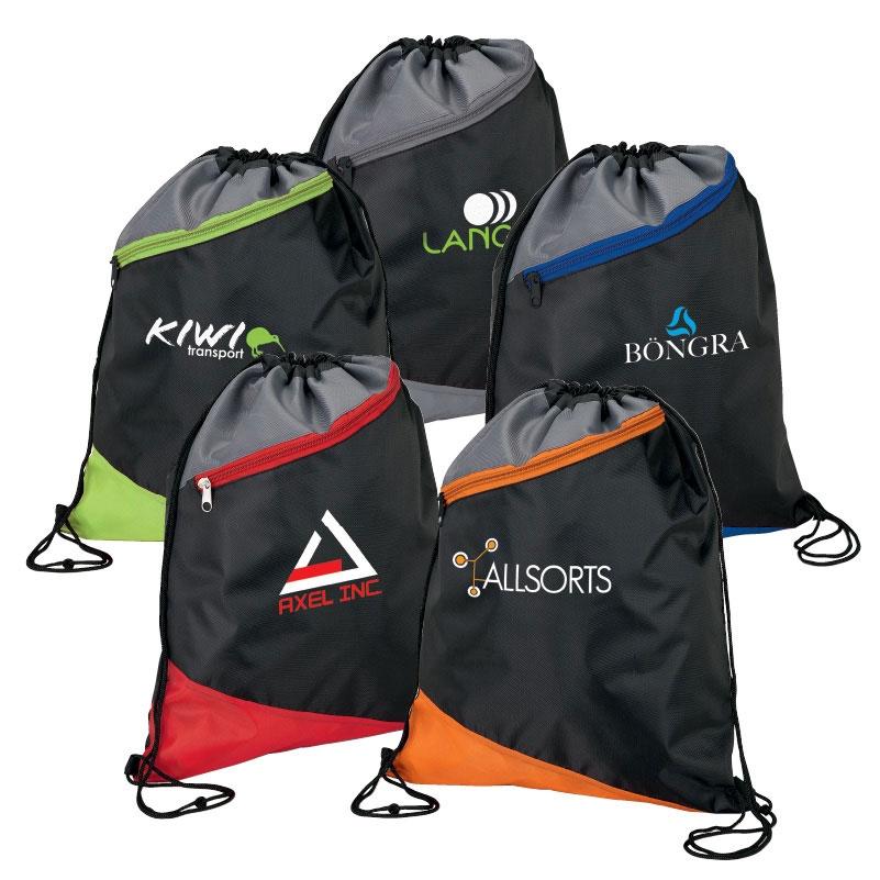 3 Tone Angled Design Drawstring Sport Bag w/ Zip Pocket
