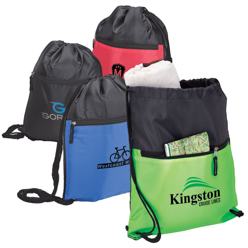 Drawstring Sport Bag w/ Zip Pocket