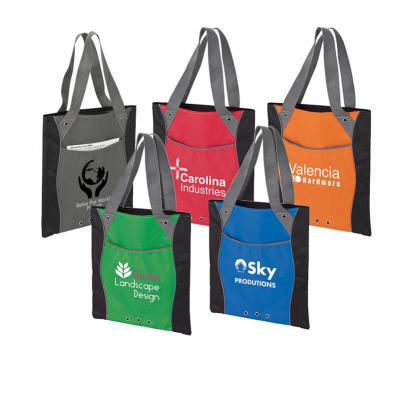 Wavy Color Accent Tote Bag