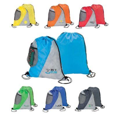 2 Tone Drawstring Sport Bag w/ Mesh Side Pocket
