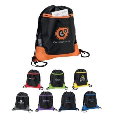 Drawstring Sport Bag w/ Zip Pocket