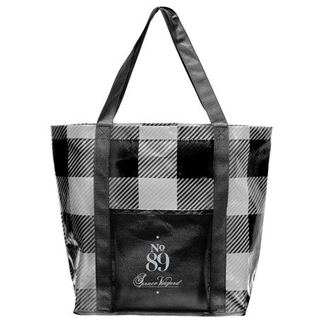 Buffalo Plaid Laminated Shopper Tote