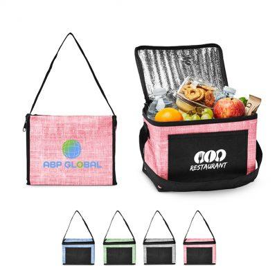 Denim Pattern Non-Woven 6 Pack Lunch Bag
