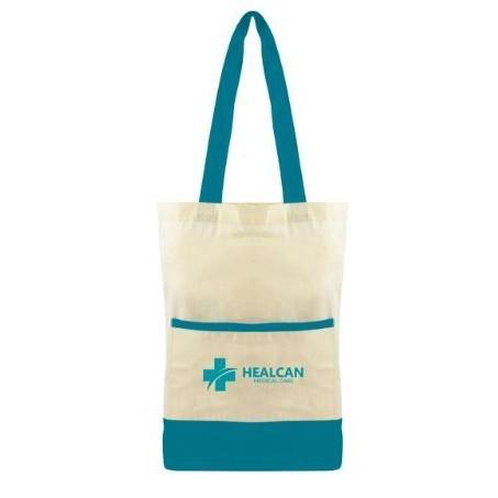 Color Accent Cotton Pocket Tote Bag